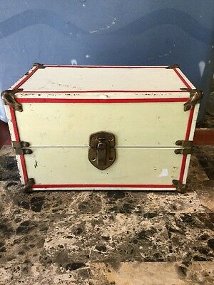 Vintage Antique Small Doll Chest Trunk Metal Keepsake Box White With Red Stripe