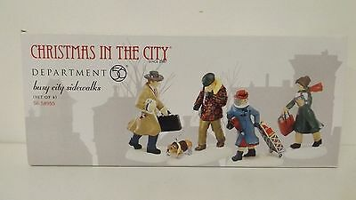 Dept 56 Christmas In The City Busy City Sidewalks Set Of 4 58955 New MIB