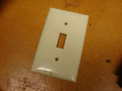 Vintage Bakelite Ivory Sierra switch Electric Plate Cover Art Deco ribbed