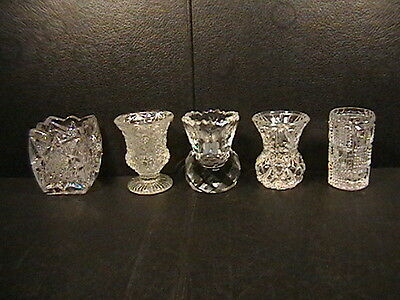 5 Toothpick Holder Crystal Etched Flower Saw Daisy Button Pressed Cut Glass LOT
