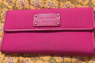 Vguc Kate Spade Wallet Continental Trifold Checkbook Pink Nylon Leather