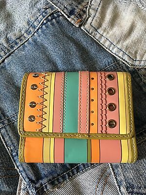 Authentic Vintage Fossil Wallet Trifold Money Holder Pink Green Blue Leather Guc