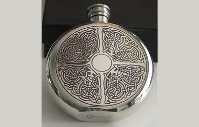Celtic Round Flask - 6 oz Pewter -Whiskey! Made in Sheffield England