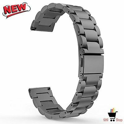 BLACK STEEL LINKS Wristband Band Strap For Samsung Galaxy GEAR S2 CLASSIC