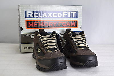 Men's Skecher's For Work, 77027, Soft stride- Canopy Work Boots, Brown and Black