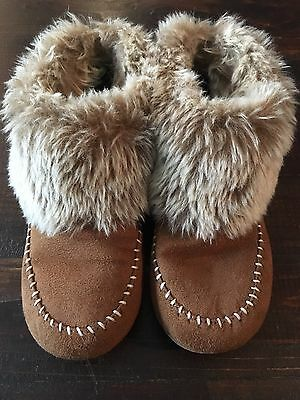 Women's Fur and Faux Suede Moccasin Style Slippers Size 5-6