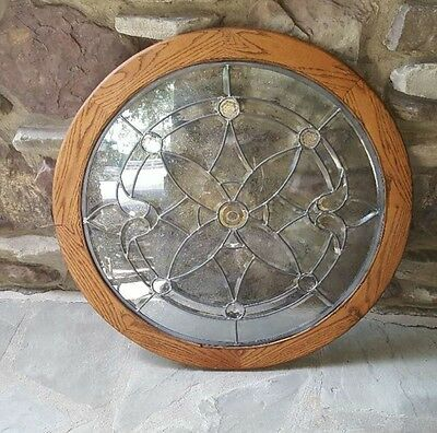 VINTAGE 1960s LARGE ROUND LEADED GLASS WINDOW, ABOUT 36 INCHES, ZERO ISSUES