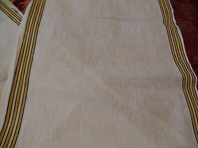 Vintage, White Linen/Cotton Toweling Fabric To Make Kitchen Towels, Striped Edge