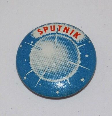 "Vintage SPUTNIK PINBACK PIN Gumball Prize 7/8"" Round SOVIET UNION Made in USA"
