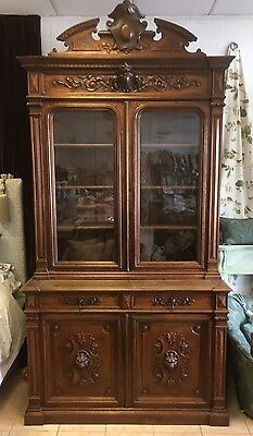 cournty house French oak carved library bookcase,antique furniture,