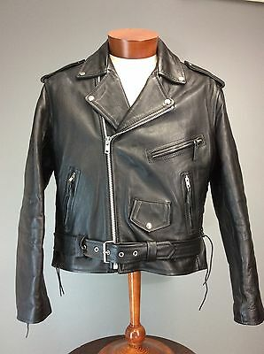 Men's Vintage 90s Black Leather Motorcycle Biker Jacket Zippers Laces Chrome 44