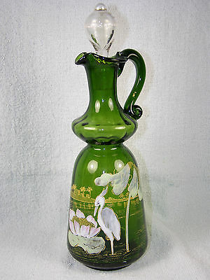 Antique Green Glass Cruet with Painted Enamel Heron, Flowers & Gold Accenting