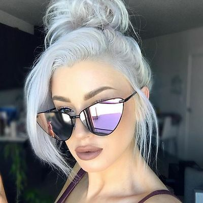 Vintage Style Retro Womens Fashion Cat Eye Mirrored Flat Lenses Sunglasses
