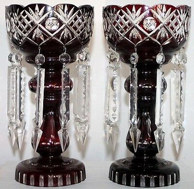 Huge Pair Of Bohemian Czech, Ruby-Cut-To-Clear Lusters W/ Spear Crystal Prisms.