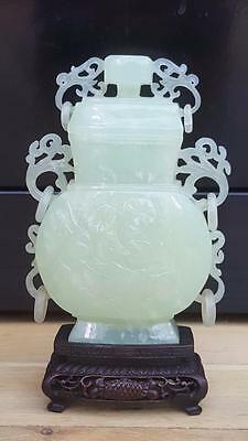 Chinese Jade Lidded Vase / Jar On Wooden Stand