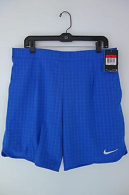 "$70 NWT Men's Nike Gladiator Premier 9"" Blue Dri Fit Tennis Athletic Shorts Sz L"