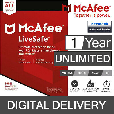 McAfee LiveSafe 2017 Unlimited Devices/1Year Antivirus Genuine Authentic Licence