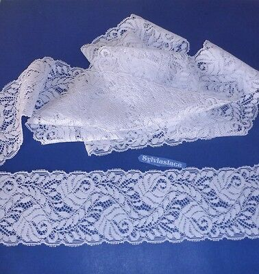 3  metres   of    Pretty   White   Stretch Lace          65 mm  wide
