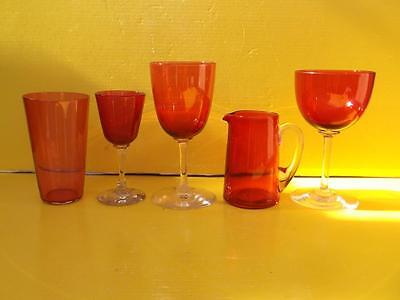 639 / Four 19Th Century Hand Blown Cranberry Drinking Glasses + 1 Cranberry Jug