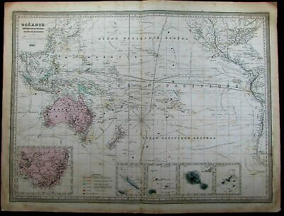 Oceania Polynesia Australia Fiji New Zealand c.1865 Dufour rare huge antique map