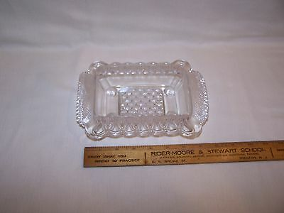 Antique Victorian  Pressed Glass Footed Butter Dish Eapg -