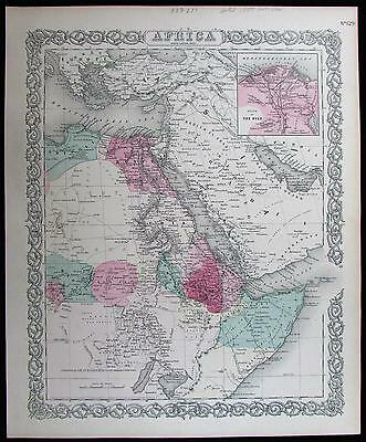 East Africa interior Arabia Egypt regional 1855 detailed antique Colton map