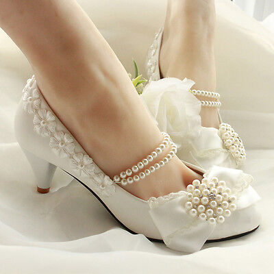 Women Princess With Pearls Across Ankle Mid Heel White Bridal Wedding Shoes