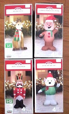 4' Christmas Inflatable Gingerbread, Polar Bear, Toy Soldier Reindeer You Choose
