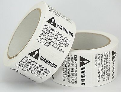 "2 Rolls/1000 Labels,Suffocation Warning,Keep Away from Small Children, 2"" X 2"""