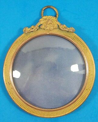 Antique Miniature Brass Picture Frame Bubble Glass Hanging Type Best!!