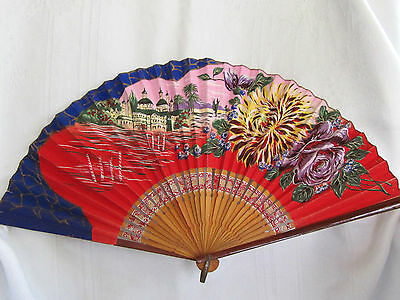 """Beautiful Antique Chinese Hand Painted Fan Bamboo 19"""" Open"""