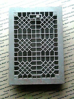 Vintage Stamped  cast floor or wall grate 9-3/4x13-3/4