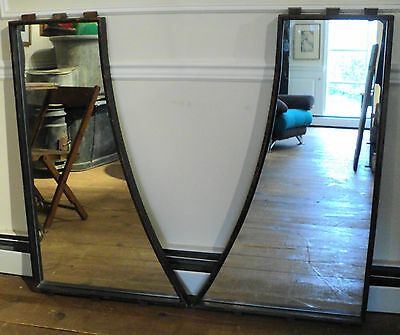 Two Unique Antique Vintage Industrial Wood Factory Mold Mirrors