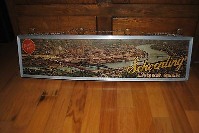 Schoenling Beer Sign Long 1950 Cincinnati Panorama Skyline View
