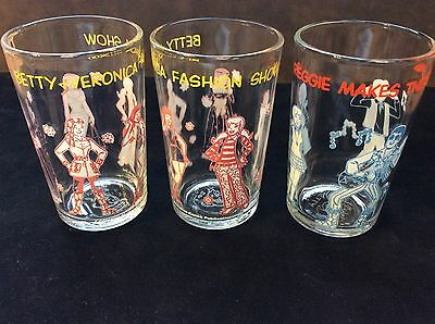 3 1971 Archie Comics Jelly Glasses, 2 Veronica's And A Reggie