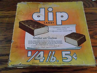 "Vintage 1940's ""Carlton Dip"" Candy 5 cent Empty Cardboard Store Display Box"