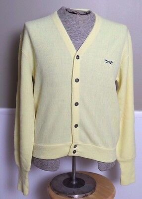 Vintage JCPenney The Fox Sweater Cardigan Button Yellow Acrylic Mens Size Medium