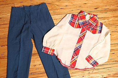 Vintage 2pc Boys Sears School Outfit Retro Cowboy Pointed Collar Shirt Size 6