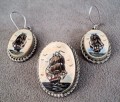 Vtg Set of Scrimshaw Earrings & Pendant is Brooch Sailing Ship Boat Nautical