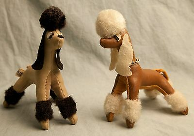 Vintage Pair of R. Dakin & Co Poodles Toys Dogs Leather