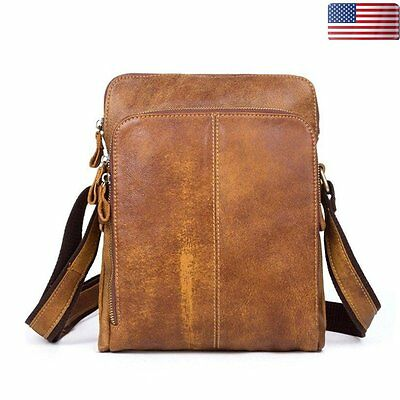 Mens Genuine Vintage Leather Briefcase Messenger Shoulder Crossbody Bag Satchel