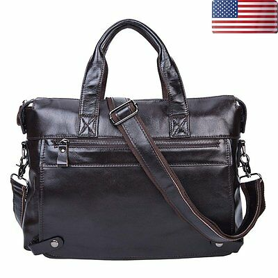 Mens Leather Briefcase Business Handbag Laptop Shoulder Messenger Bag Dark Brown
