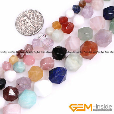 Natural Colorful Mixed Semi-Precious Gemstone Polygonal Faceted Round Beads 15""