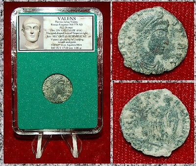 Ancient Roman Empire Coin OF VALENS Walking Victory With Wreath And Palm