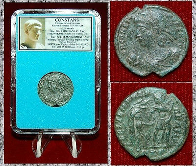 Ancient Roman Empire Coin Of CONSTANS Helmeted Soldier Leading Captive