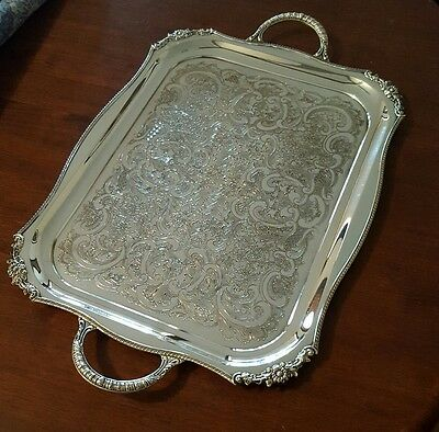 Viners of Sheffield England Silver Plate Serving Tray Chased Alpha Plate 2.5kgs