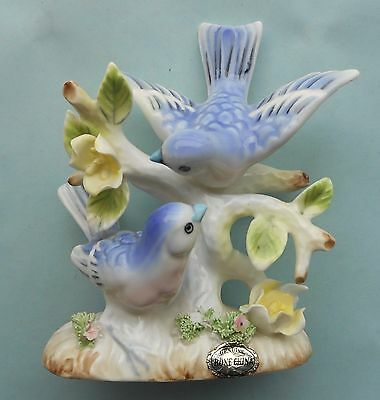 "Bluebirds Bone China Figurine with Flowers 4 1/4"" Vintage"