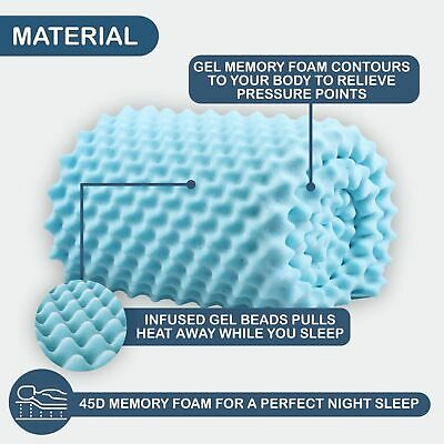 COOL GEL Memory Foam Infused Underlay Summer Cold Convoluted Mattress Topper 5CM
