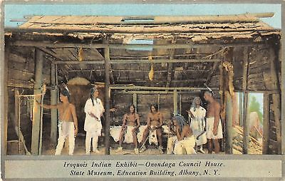 Vintage Postcard of Iroquois Indian Exhibit in New York State Museum 1910's