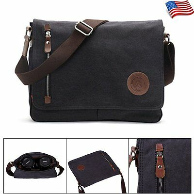 Men's Vintage Canvas Messenger Shoulder Bag School Travel Laptop Satchel